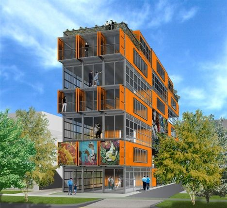 the first, mid-rise container building in the U.S. is planned for downtown Salt Lake City. The project was designed by none other than Adam Kalkin, container architecture expert, and will be called City Center Lofts. The green, ultra-modern condo building will have eight units and a ground level art gallery.