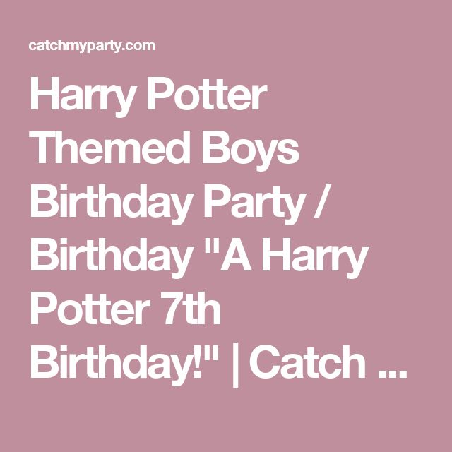 "Harry Potter Themed Boys Birthday Party / Birthday ""A Harry Potter 7th Birthday!"" 