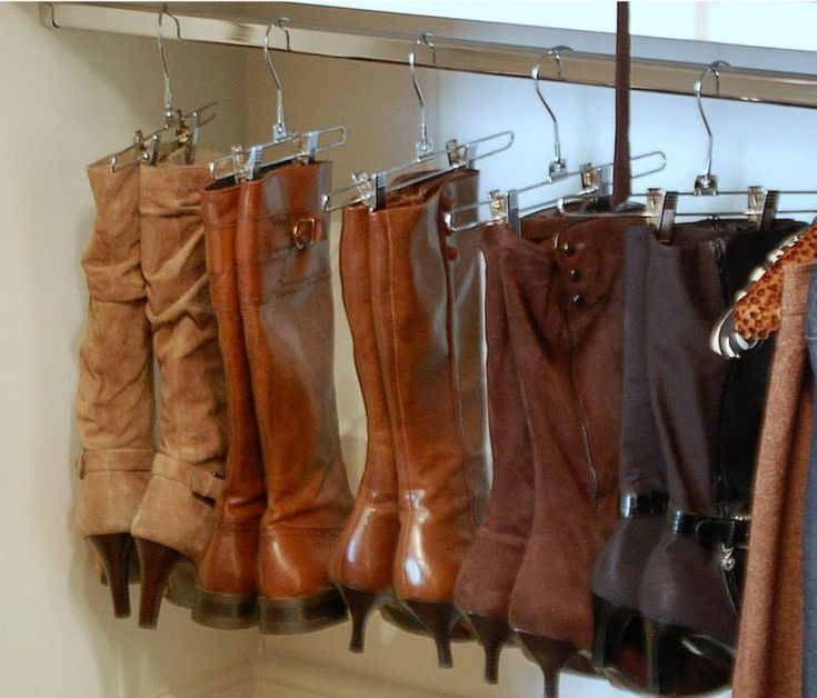 Great way to organize boots so they don't fall over in the closet and develop a crease. Could hang a tension rod lower in the closet so your boots don't take up valuable space.
