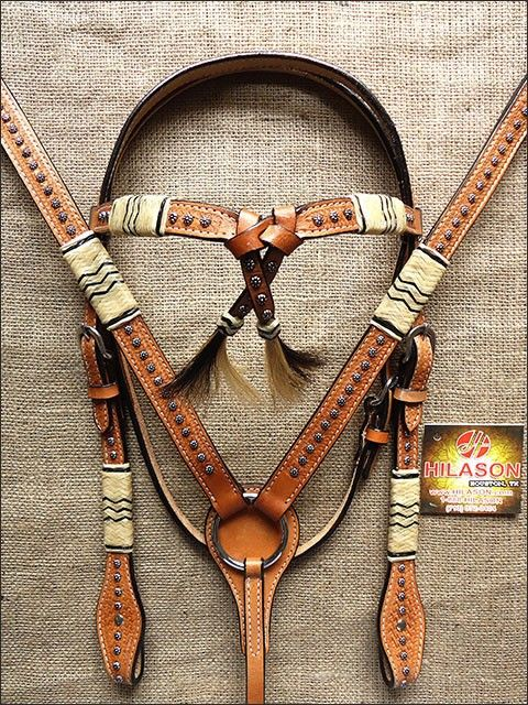 PA381 HILASON WESTERN LEATHER HORSE BRIDLE HEADSTALL BREAST COLLAR RAWHIDE BRAIDED LIGHT OIL - HEADSTALL BREASTCOLLAR SET - HORSE TACK - SADDLES & TACK