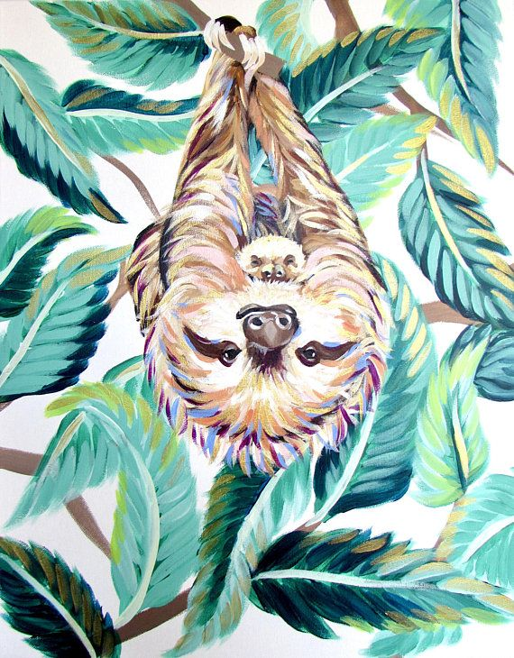 Sloth Painting (16×20) by Kelsey Rowland- baby sloth jungle leaf print three-toed sloth art green blue original painting colorful