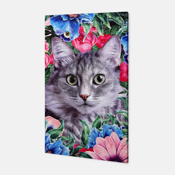 Cat In Flowers. Summer Canvas, Live Heroes