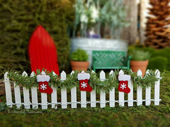 Miniature White Picket Fence with Garland and Christmas Stocking – Fairy Garden Furniture Miniature Fence Holiday Fairy Garden Accessories – Christmas decorating ideas