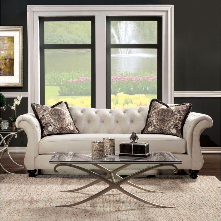 Furniture Of America Agatha Traditional Tufted Sofa (Dolphin Gray), Grey  (Acrylic)