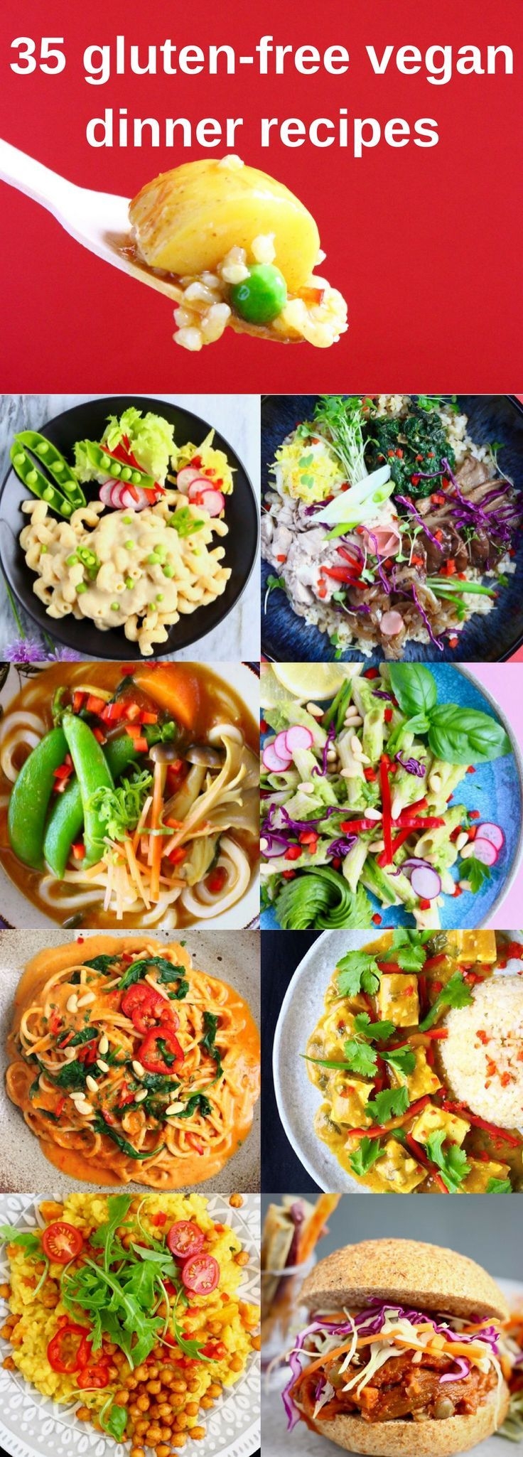 35 Vegan Gluten-Free Dinner Recipes! A selection of comforting pastas, fragrant curries, easy rice dishes, hearty burgers and flavour-packed stir fries, all made using simple, plant-based ingredients! #vegan #vegetarian #dairyfree #glutenfree #plantbased