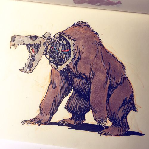 That one time a grizzly bear busted into a robot factory.
