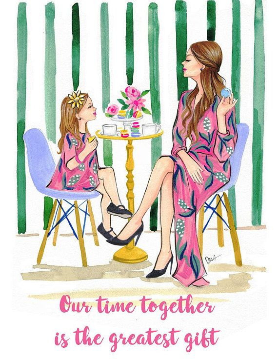 Mother S Day Illustration Mom And Daughter Wall Art Mother S Day Gift Fashion Mom And Daughter Ti Mother Daughter Art Mother And Daughter Drawing Mother Art