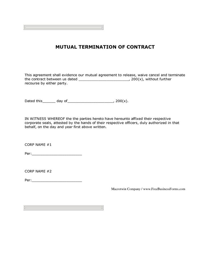 Sample Contract Mutual Termination Letter Agreement Form And