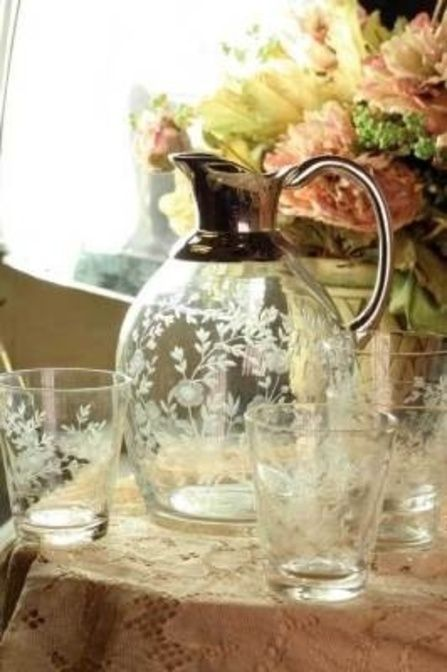 Delicate etched glassware.
