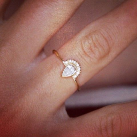 Pear Diamond Ring with Pave Diamonds Crown| Spotted on Keep