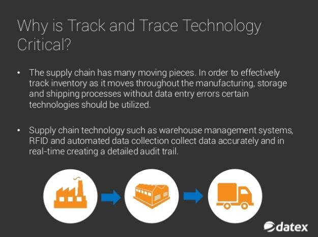 In the distribution and logistics field track and trace is defined as the process of identifying past and current locations of inventory items. This inventory should be tracked at any level from ingredient to finished product and anywhere in between. Track and trace processes are supported through a variety of SCM technologies that help to provide real-time information on both location and status of these items as they move throughout the supply chain. Learn more about these technologies…