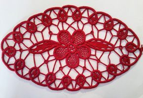 Doily Romanian Point Lace Crochet Doily RED Floral by ValeriasShop