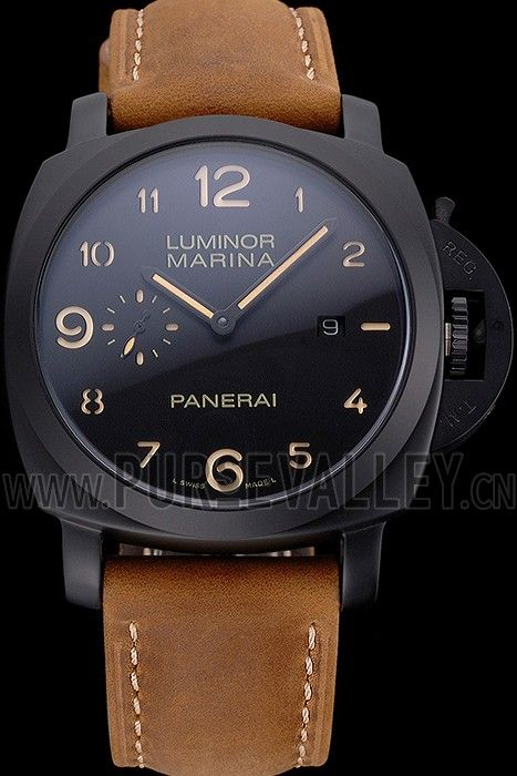 Panerai Luminor Marina 1950 Black Dial Matte Black Steel Case Brown Suede Leather Strap Panerai Replica
