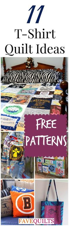 How to Make a T-Shirt Quilt: 11 T-Shirt Quilts - Learn how to quilt with old t-shirts with these free t-shirt quilt patterns and projects!