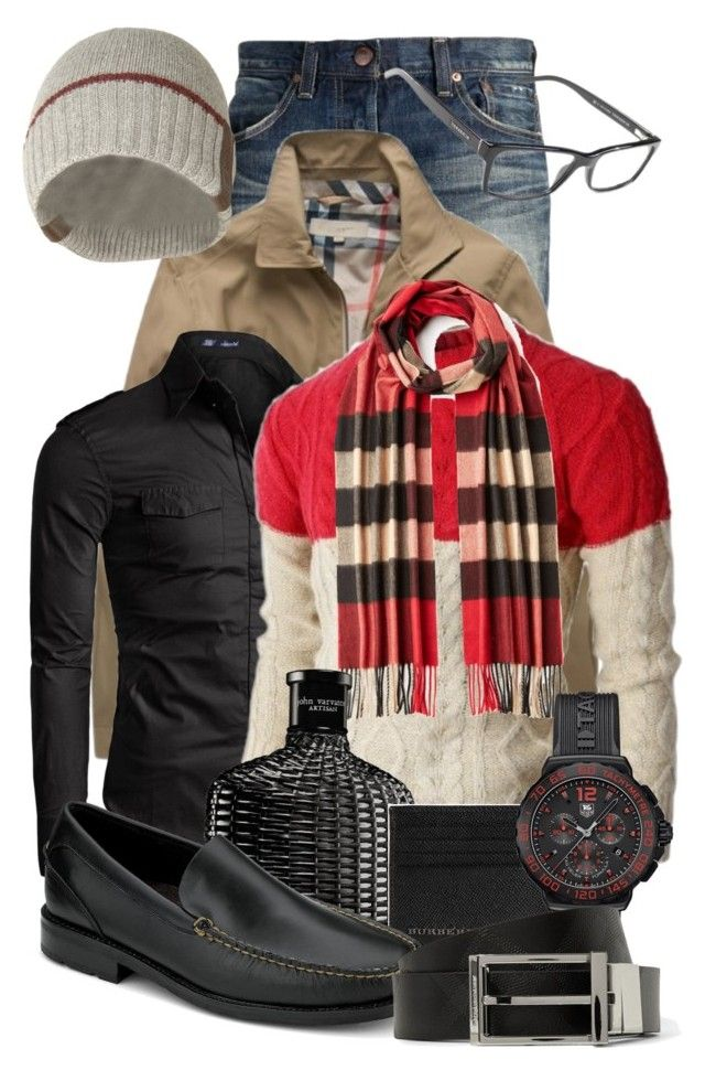 """""""Men's Burberry Fashion"""" by jacci0528 ❤ liked on Polyvore featuring Red Card, Burberry, Doublju, John Varvatos, Armani Jeans, Tag Heuer and Sperry Top-Sider"""