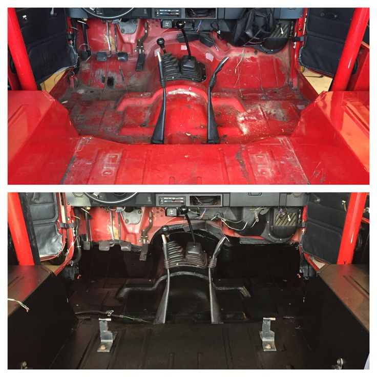 Before and after of DIY bed liner project for the whole jeep interior.