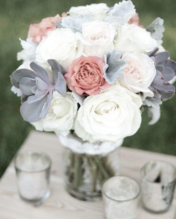 grey and white wedding bouquet / http://www.deerpearlflowers.com/grey-fall-wedding-ideas/