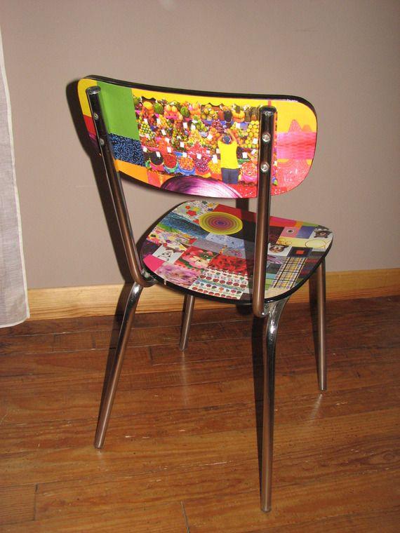 chaise formica relookée en papier collé multicolore a vendre !