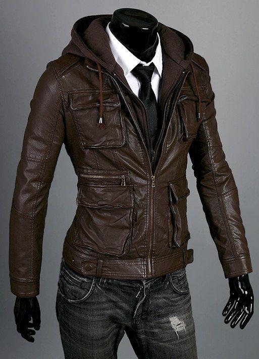b0a3a925846 Handmade Men brown hooded leather jacket men by customdesignmaster ...