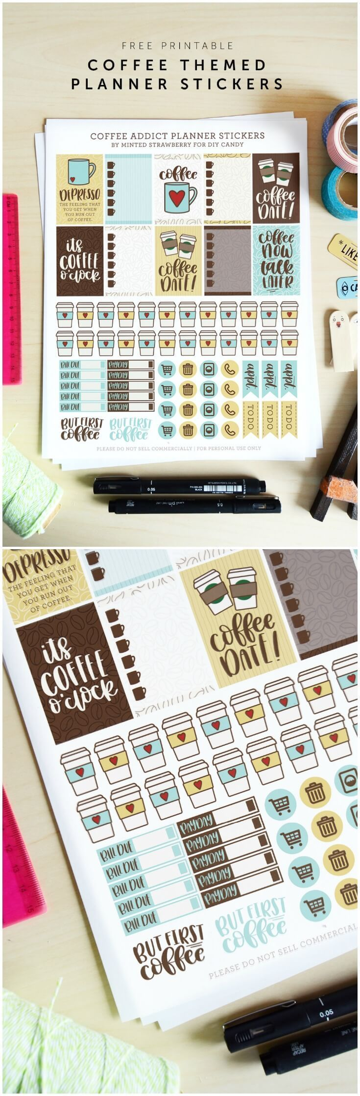 Grab some free printable planner stickers with a coffee theme! Perfect for Happy Planner, Day Designer, bullet journal, and more. via @diy_candy