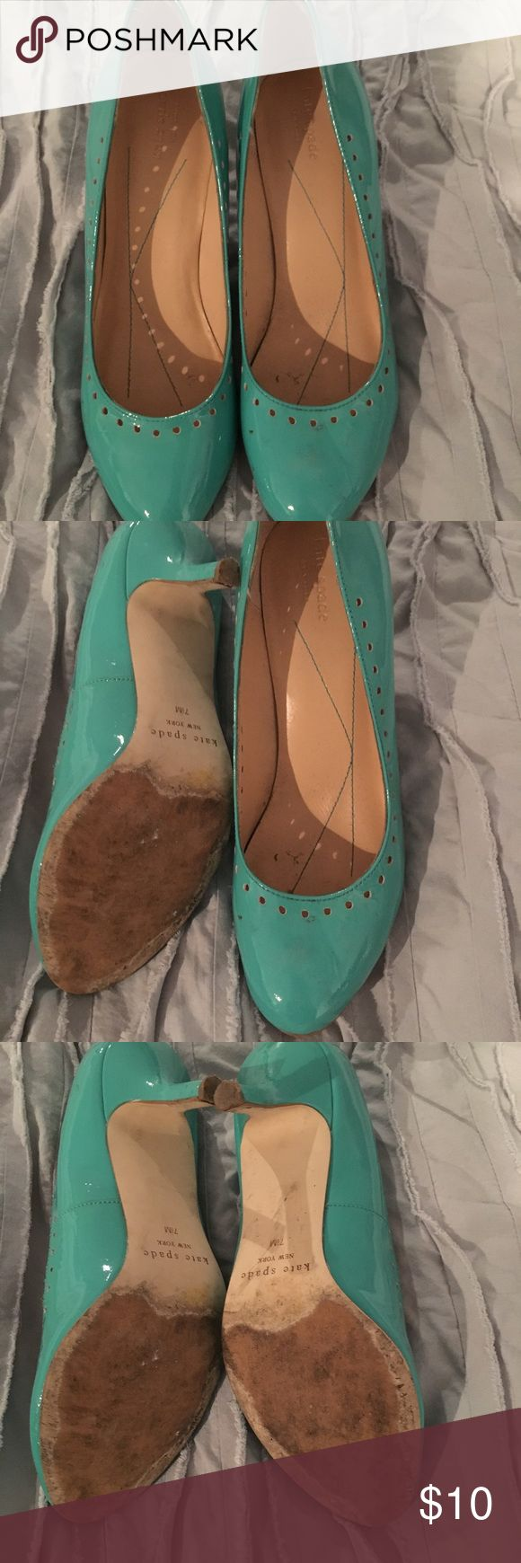 Kate spade Tiffany blue heels Kate spade Tiffany blue heels. 7.5m. Very worn heel.  Smoke free pet free home. kate spade Shoes Heels