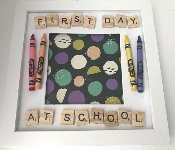 First Day At School Scrabble Frame. Precious Memories.