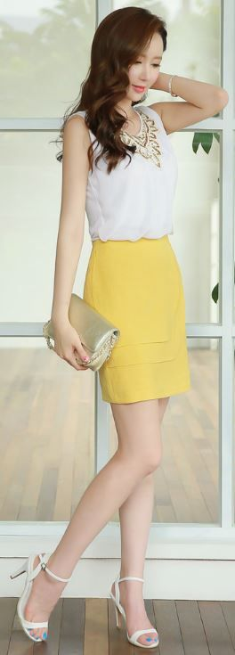 StyleOnme_Layered Flap Detail Pencil Skirt #yellow #skirt #summer #look…