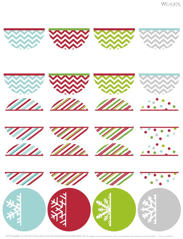 Free printable holiday themed round address labels with chevron candy stripe and snowflake design by