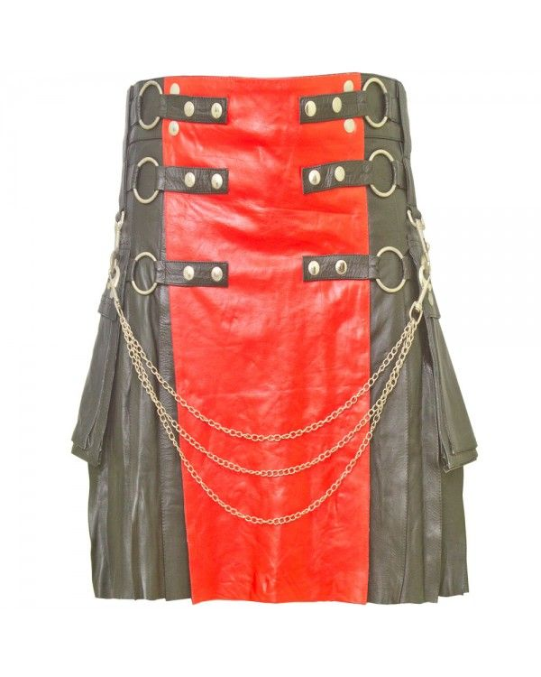 Black Leather Kilt with Red Apron are built to last and will withstand any manly task you put them up to. The style is traditional with added functionality. The custom button placement and buckle closure give our kilts a unique flare you won't find anywhere else.
