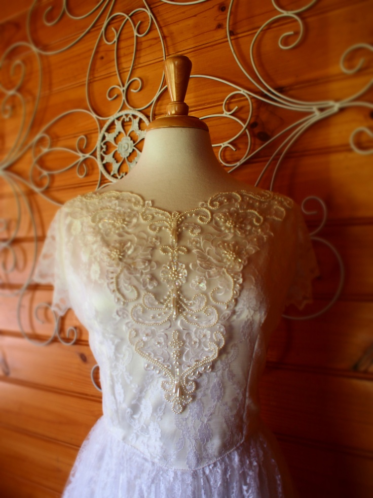 Grace of Autumn Beaded Vintage Lace Wedding Gown - Adore
