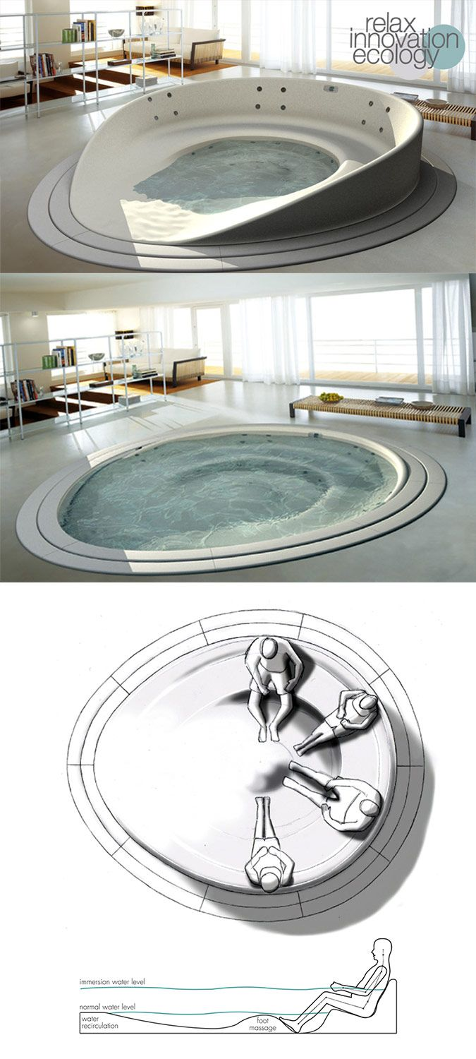 Designer Tubs:  This glorious sunken bathing round with a built-in foot massage, known as the Shore Tub, is the result of a creative collaboration of the HeyTeam Collective and Teuco.
