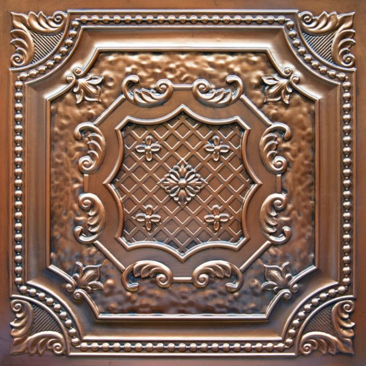 """Elizabethan Shield - Faux Tin Ceiling Tile - 24""""x24"""" - #DCT 04 - in white for kitchen"""