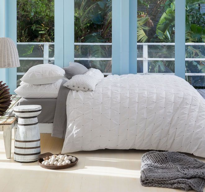 Kas White Stitch Quilt Cover Set Range White and Charcoal
