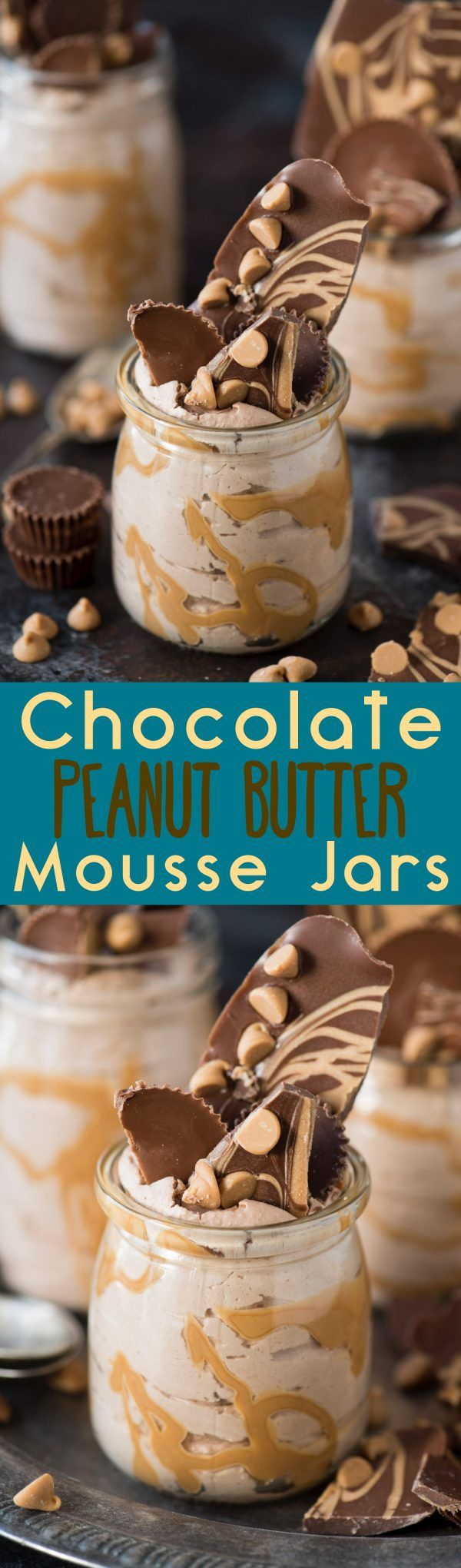 Decadent and fluffy chocolate peanut butter mousse jars!