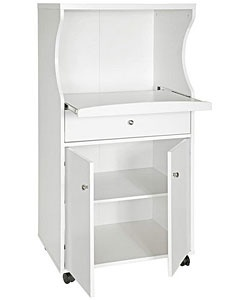 @Overstock - Cabinet is on casters for easy mobilityTwo-door cart, pull-out drawer on metal glides  This furniture piece is great for use in the kitchen Microwave cart features a white finishhttp://www.overstock.com/Home-Garden/Tiffany-White-Microwave-Cart/2918725/product.html?CID=214117 $122.99