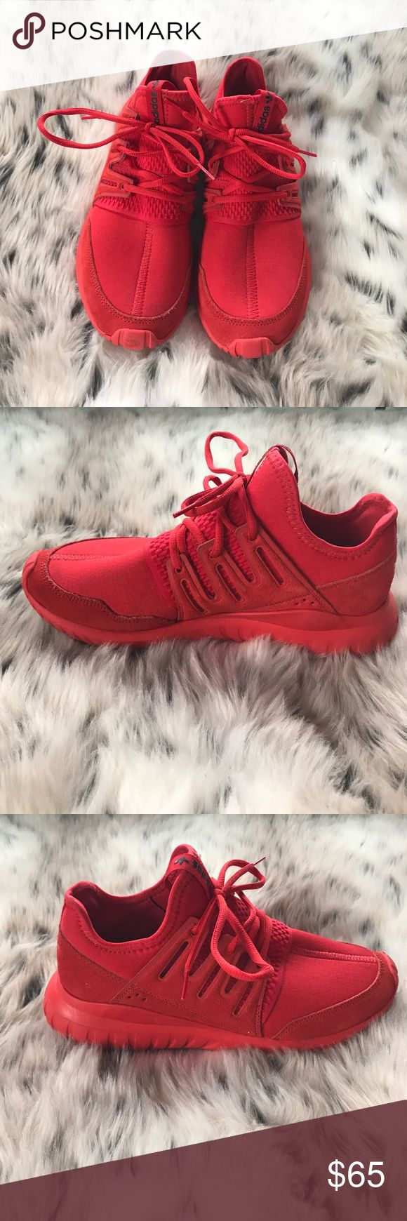 Red Adidas high top shoes All red Adidas shoes foam air bottoms, very light Adidas Shoes Sneakers http://feedproxy.google.com/fashionshoes1