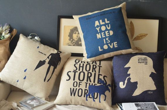 1  linen cotten British style rain London / all you need is love/ deer story /  Sherlock Holmes printed  pillow cover  / cushion case 18