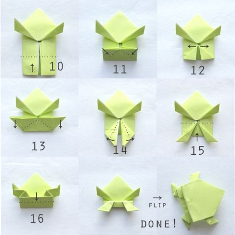 nice photo instructions show how to hold an origami jumping frog. looks easy enough for kids!