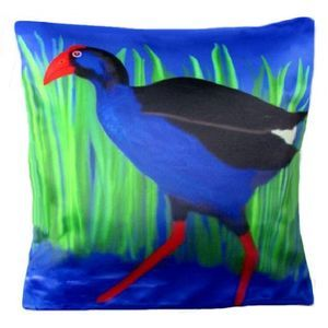 New Zealand Pukeko - Throw pillow - Cool Cushions by Chelsea Design NZ. This cheeky bird is iconic to New Zealand. Reproduced onto a lovely satin look and feel cushion. 45cmx45cm Machine washable 100% polyester. Concealed zip. Cushion cover on its' own or supplied with 400gm scatter tigerfil inner.