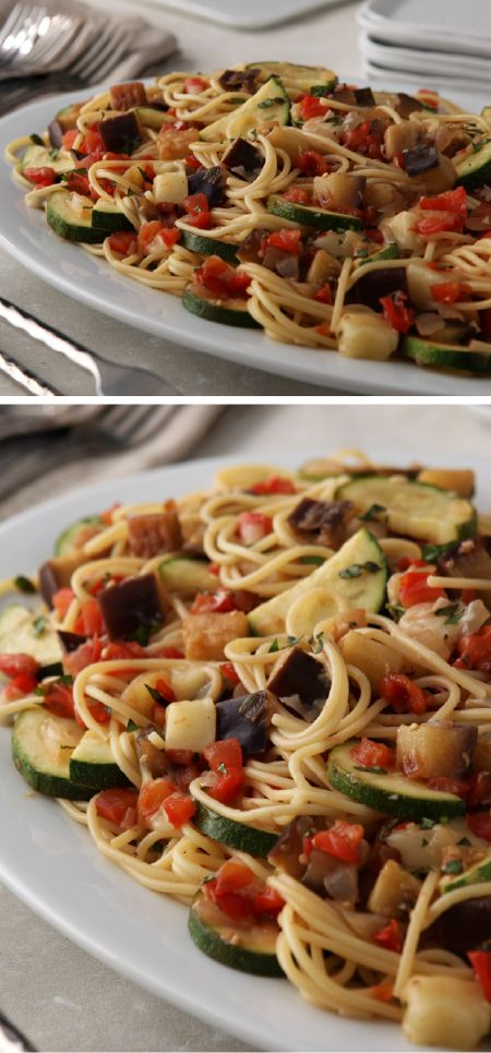 Eggplant Pasta with Mozzarella – Bring together a chunky veggie sauce and spaghetti for one flavorful pasta recipe. Your family is sure to enjoy how mozzarella cheese and basil make this eggplant dish memorable.