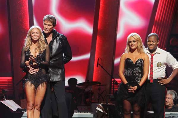 David Hasselhoff and Kym Johnson and Kyle Massey and Lacey Schwimmer await their fate 'Dancing With the Stars' Tuesday, Sept. 21, 2010.