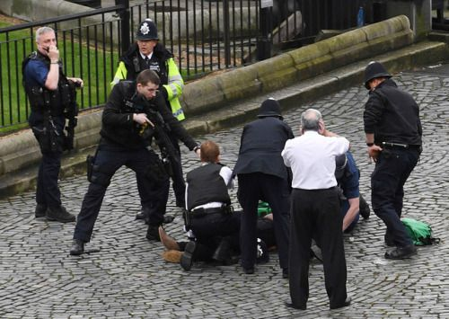 Attack outside the Houses of Parliament in LondonFour are dead...  Attack outside the Houses of Parliament in London  Four are dead and at least 20 wounded on Wednesday close to Britains Houses of Parliament in what police said they were treating as a terrorist incident.  Reuters reporters inside the building heard loud bangs and shortly afterwards a Reuters photographer said he saw at least a dozen people injured on Westminster Bridge next to parliament.  His photographs showed people lying…