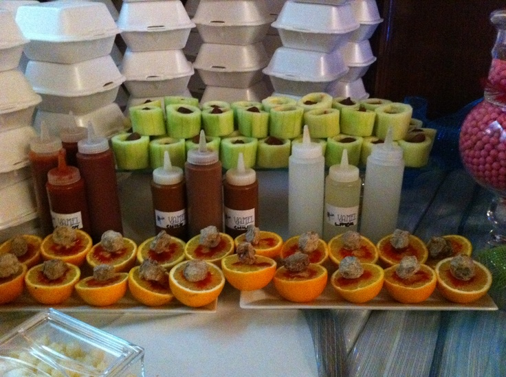 Cucumber shots and oranges with saladito. My mouth just got watery,YUM!