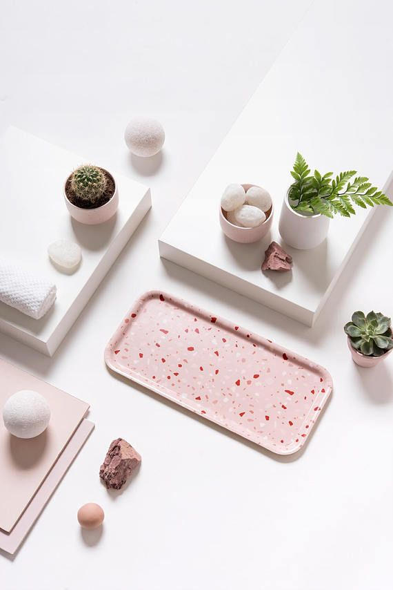 Pink Terrazzo - Modern printed serving tray with original illustration by Micush.  This birch serving trays is made from layers of Scandinavian birch wood. Each tray is made in the traditional way by laying birch veneer, with a melamine based surface which is heat and alcohol resistant . All wood is sourced from FSC or PEFC suppliers that cultivate forests responsibly. Perfect size to carry your morning coffee mug and a slice of toast as well as for serving English cake or serving cheeses…