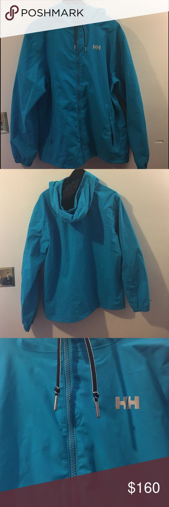Blue Helly Hansen jacket I am selling a blue Helly Hansen jacket Rain resistant with lining inside . There are no damages. Helly Hansen Jackets & Coats Windbreakers