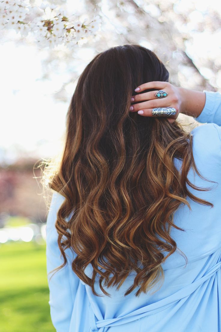 balayage hair (bleached hair ends) on a brunette
