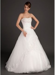 Ball-Gown Sweetheart Floor-Length Organza Satin Wedding Dresses With Ruffle Lace Beadwork (002015485)