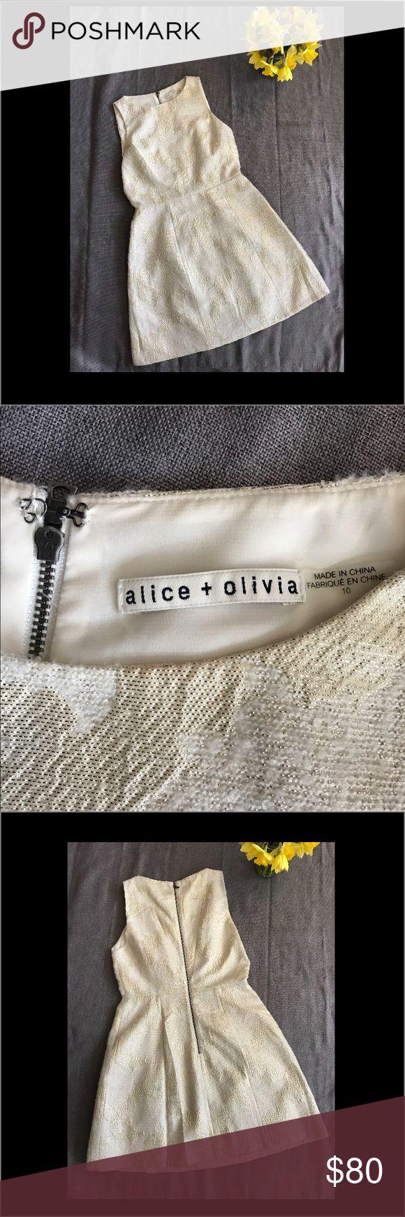 NWOT Alice + Olivia Metallic Mea Jacquard Dress NWOT Alice and Olivia Cream + Metallic Gold Dress size 10. Shell/Exterior 86% Polyester 7% Wool 7% Acrylic Alice + Olivia Dresses Mini