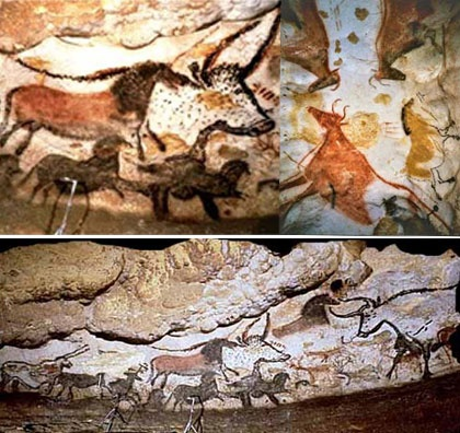 These decorative wall paintings belong to the Stone Age era. During the Stone Age people predominantly drew and painted people, animals and nature.
