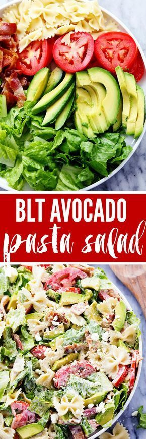 BLT Avocado Pasta Salad is fresh and crisp romaine lettuce tossed in bacon, tomato, pasta, and avocado. Topped with a creamy dressing and sprinkled with feta cheese this is one amazing salad!